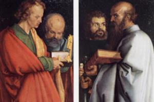 The four Apostles: Melanchthon (as Apostle John), Galeazzo da Sanseverino (as Apostle Petrus), Martin Luther (as Apostle Marcus) and Leonardo da Vinci (as Apostle Paul)